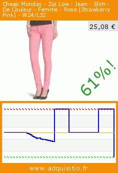 Cheap Monday - Zip Low - Jean - Slim - De Couleur - Femme - Rose (Strawberry Pink) - W24/L32 (Vêtements). Réduction de 61%! Prix actuel 25,08 €, l'ancien prix était de 65,00 €. https://www.adquisitio.fr/cheap-monday/zip-low-jean-slim-couleur-0