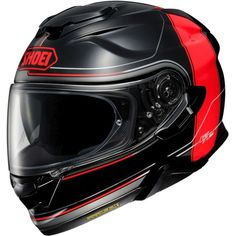 The shell features an updated design while still providing the aerodynamics and stability its predecessor was known for. The longer drop down sun visor provides instant relief from the sun while a micro-ratchet chinstrap is easy and convenient to operate. Shoei Motorcycle Helmets, Shoei Helmets, Full Face Motorcycle Helmets, Full Face Helmets, Motorcycle Gear, Red And Grey, Red S, Black, Ar Fresco
