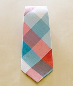 Turquoise Red Plaid Mosaic Tie