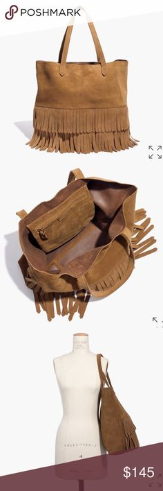 """Madewell Suede Fringe Transport Tote Brand New with tags and original packaging. Made of rich Italian suede. Please note: As it is made of a natural material, each bag varies slightly in texture and color. Interior pocket. 8 3/10"""" handle drop. 14""""H x 14""""W x 6""""D. Madewell Bags Totes"""
