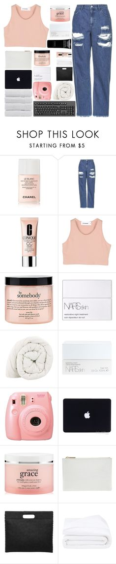 """""""YOU LOOK SO PROUD"""" by trnslucid ❤ liked on Polyvore featuring Bare Cotton, Chanel, Topshop, Clinique, StyleNanda, philosophy, NARS Cosmetics, Fuji, Whistles and Frette"""