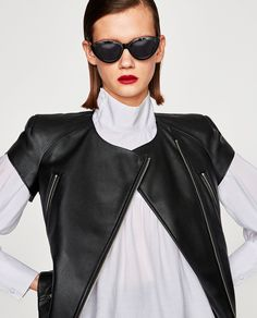 ZARA - WOMAN - LEATHER-EFFECT JACKET WITH SHORT SLEEVES