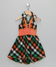 Take a look at this Orange & Green Plaid Halter Dress - Toddler & Girls by Lele for Kids on #zulily today!