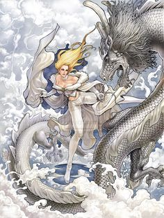The spirit of Abernathy with Cindy in the Cindy Chronicles... From: (Emma Frost with Ice Dragon by daxiong.deviantart.com on @deviantART - AMAZING art!!!)