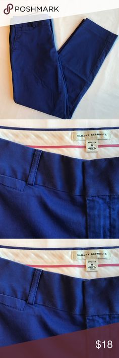 Banana Republic Cobalt Blue Pant Cobalt blue pant, cotton and spandex. Side and back pockets. Back pockets are still sewn up. Inseam is 26 inches. Would be an ankle pant on most. Size 0. Banana Republic Pants Ankle & Cropped
