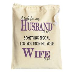 Wedding gift bag for the Groom to be Husband to be from Wife to be personalised cotton drawstring bag