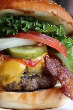 In honor of National Cheeseburger Day (Wednesday, September 18, 2013) here is an amazing looking Double Bacon Cheeseburger... WHAT?!?! I did not know there was a national cheeseburger day!! :D