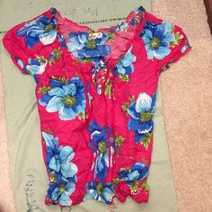 Colorful Shirt Never worn. Pretty lace down the front! Awesome colors. Never got to wear. Hollister Tops Tees - Short Sleeve