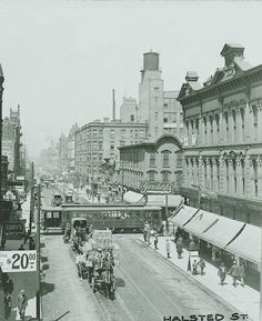 Looking north on Halsted from North Ave, 1900, Chicago This scene is dramatically different today. Ryerson and Burnham Archive, Art Institut...