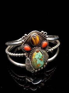 Unusual-ROYSTON-TURQUOISE-Coral-Tiger-039-s-Eye-Sterling-LEAF-Cuff-Bracelet-30-7g