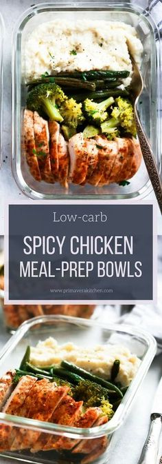 """Spicy Chicken Meal-Prep Bowls - Plan ahead for the week with these paleo, gluten-free and low carb Spicy Chicken Meal-Prep Bowls packed with spicy chicken, roasted green beans and broccoli and """"mashed"""" cauliflower. #glutenfree #lowcarb #paleo #whole30 #dinner #easyrecipe #mealprep #keto"""