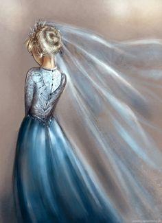 """Ice veil"" • Wedding Gown Illustration • Elsa • Frozen"