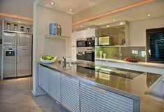 stainless steel kitchen cabinets with glass doors - Google Search