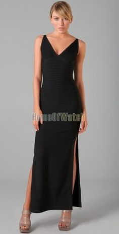 6sense Black V Neck Party Evening Dress Fashion Prom Dress $170.87