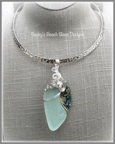 Pale Sea Foam & Abalone Mosaic Sea Glass Necklace, $59.00