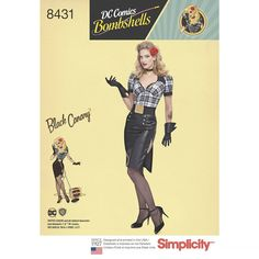 Simplicity Pattern 8431 - Misses' DC Comics Bombshell Black Canary Costume