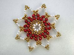 White/red/gold Pearl star 9.8 cm beaded by Sternenstuebchen