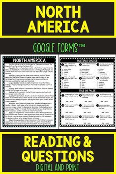 Ensure comprehension with this SELF-GRADING North America DIGITAL Reading Passage and Questions for Google Classroom™. The non-fiction reading passage in digital format is delivered through Google Forms™ but a printable copy is inside as well! #NorthAmerica #Continents #Geography #HomeSchool #Digital #4thgrade #5thgrade #6thgrade #Interactive #MiddleSchool #UpperElementary Middle School History, Middle School Reading, 5th Grade Reading, Geography Activities, Geography Lessons, 4th Grade Social Studies, Social Studies Activities, Reading Passages, Reading Comprehension