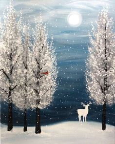 White deer in the snow with snow covered trees. Beginner painting idea. Graffiti Paintbar - Uncork Your Inner Artist!