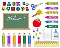 Back To School Clip Art, School Supplies Clip Art, School Digital Clip Art, Digital Clipart, Back To School Clipart, Pencil, Pen, Chalkboard...