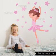 Bailarina Rosa - Vinilos infantiles. Ideas para decorar  habitaciones de niñas. Decoración infantil de diseño starstick