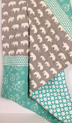 Baby Quilt Modern Organic Mod Basics Ellie Family by CoolSpool