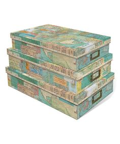 Look at this World Atlas Storage Box Set on #zulily today!