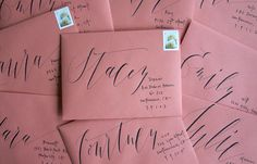 pink envelopes caligraphy