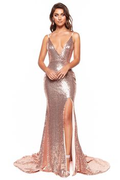 43424d2a A&N Luxe Hailey - Rose Gold Plunge Neck Mermaid Sequin Gown with Slit  Gold
