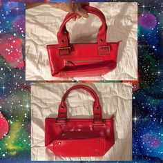 """Red Leather Nordstrom Handbag This is a colorfully lined leather handbag by Nordstrom. Handles are short with belt-like buckles allowing an adjustable 4-7"""" drop. Purse has metal feet on the bottom, one exterior and one interior zippered pocket, and interior non-zippered pockets and pen and pencil holders. Some minor interior staining and exterior blemishes but mostly unnoticeable. Nordstrom Bags"""