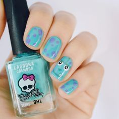 Nail art: Sulley do filme Monstros S.A. – Depois Dos Quinze