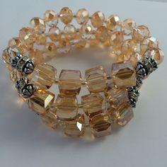 Layered Crystal Champagne Bead Bracelet Layered Crystal Champagne Bead Bracelet NYC Chic Accessories Jewelry Bracelets