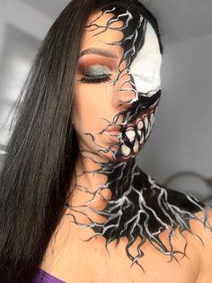 Spooky Halloween Venom makeup look 2019 idea! Simple Cat Makeup, Crazy Makeup, Cute Makeup, Creative Makeup, Halloween Makeup Clown, Zombie Makeup, Spooky Halloween, Venom Halloween Costume, Halloween Ideas