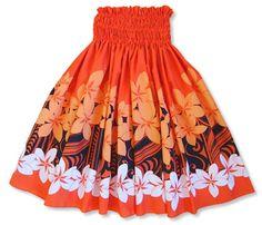 Go ahead... Sway those hips! Introducing, the plumeria shadow orange single pa'u hula skirt.