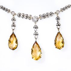 Citrine and Diamond Necklace http://www.langantiques.com/products/item/90-1-2970