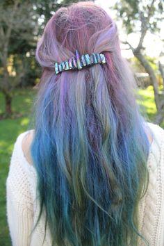 Rainbow Hologram Crystal Hair Barrette
