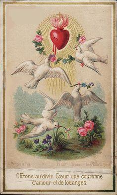 Sacred Heart of Jesus Religious Images, Religious Icons, Religious Art, Vintage Holy Cards, Vintage Postcards, Catholic Art, Catholic Saints, Sacred Heart Tattoos, Jesus E Maria