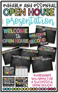 Editable and Essential PowerPoint for Open House, Back to School for Elementary Teachers with a colorful Chalkboard Brights theme!