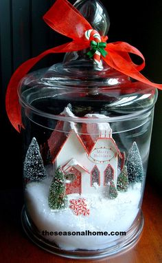 with village house and trees!Apothecary Jar with village house and trees!Jar with village house and trees!Apothecary Jar with village house and trees! Christmas Jars, Christmas Love, Winter Christmas, All Things Christmas, Vintage Christmas, Christmas Decorations, Xmas, Christmas Ideas, Christmas Snow Globes
