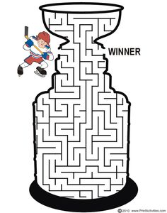 Sports mazes for kids Stanley Cup Maze: Guide the hockey player thru the maze to become a winner. Hockey Tournaments, Hockey Games, Hockey Mom, Hockey Players, Hockey Stuff, Hockey Birthday Parties, Hockey Party, Baseball Party, Stanley Cup