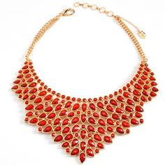 Amrita Singh statement necklace - coral