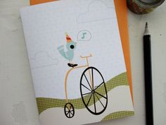 Bicycling Party Bird / Birthday Note Cards, via etsy