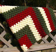 Granny Square Afghan Crochet Blanket Pattern - Christmas Decor, Christmas Gifts, Wood Fence