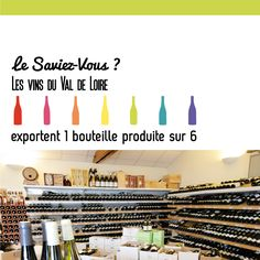 Le Saviez-vous ? Les vins du Val de Loire exportent 1 bouteille produite sur 6 :) #Economie #VinsValdeLoire #saviezvous