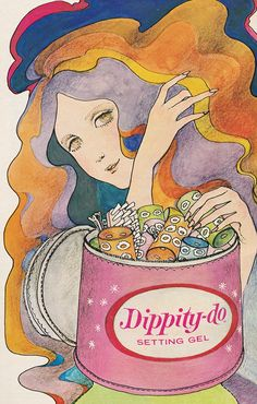 'It's the Dippity-do Roller Toter! 60s Art, Retro Art, Vintage Art, Type Illustration, People Illustration, Illustrations, Hippie Baby, Retro Makeup, Vintage Branding