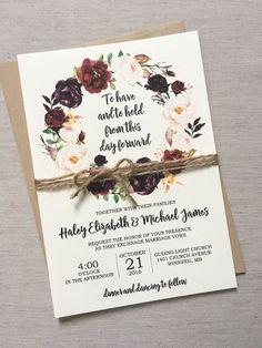 Rustic Wedding Invitation Marsala Wedding by LoveofCreating