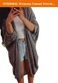 """OVERMAL Womens Casual Oversized Knit Sleeve Sweater Coat (ASIA M = US 6, Dark Gray). Size S Sleeve 39CM/15.3"""" Length 100CM/39.3"""" M Sleeve 40CM/15.7"""" Length 101CM/39.7"""" L Sleeve 41CM/16.1"""" Length 102CM/40.1"""" XL Sleeve 42CM/16.5"""" Length 103CM/40.5"""" XXL Sleeve 43CM/16.9"""" Length 104CM/40.9"""" Since our start in 2015 we offer latest trends and design in fashion at deep discounts! We work day and night to bring you high quality clothing and accessories for a fraction of the price you pay at..."""