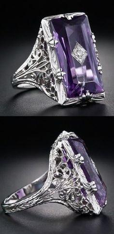 Vintage Amethyst and Diamond Filigree Ring. Art Deco Vintage Amethyst and Diamond Filigree Ring. Bijoux Art Deco, Art Deco Jewelry, Fine Jewelry, Jewelry Design, Jewelry Rings, Jewlery, Jewelry Crafts, Jewelry Box, Jewelry Making