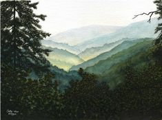 Smoky Mountains watercolor landscape print of by CathyHillegas, $20.00
