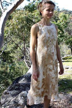 Textured bark print silk nuno felt dress by GinaMastio on Etsy